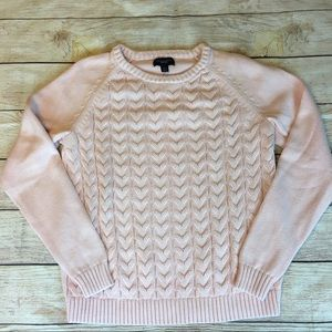 Land's End Drifter Cable Knit Sweater PINK